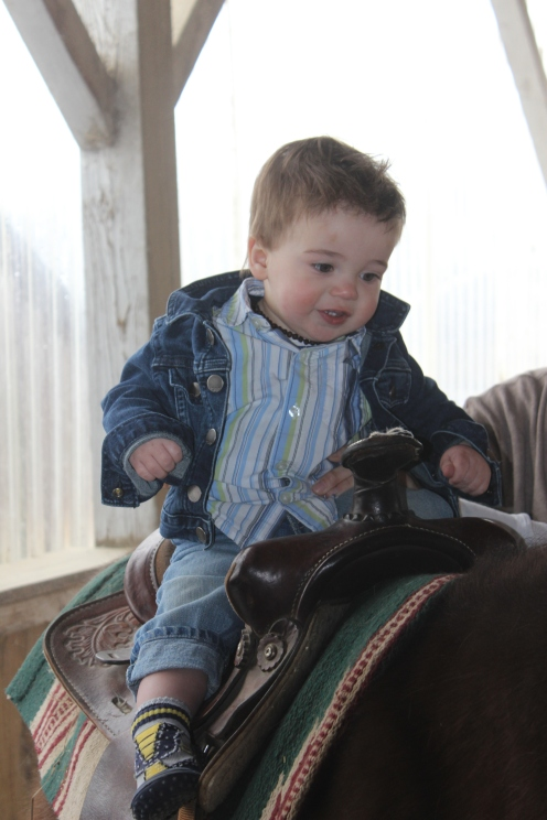 Liam's first real pony ride!