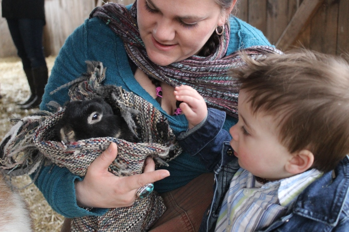 Aunty and a bunny... what does a rabbit say?