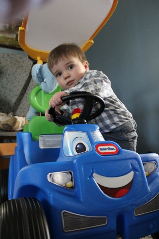 Liam hopping in his ride