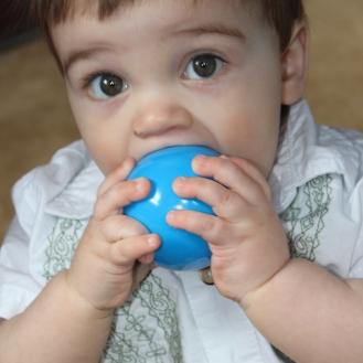 Liam stole a ball... delicious!